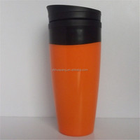 hot sale environmental plastic cup with newest cap orange personalized mugs