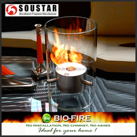 2016 round glass tube bio ethanol table fireplace stainless steel burner