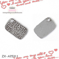 2015 Alibaba Website Popular Charm Rectangle Logo Engraved Jewelry Tag Charm Whole Charms ZX-A25311