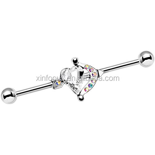 Cupid Heart Arrow Industrial Barbell 14 Gauge Earring