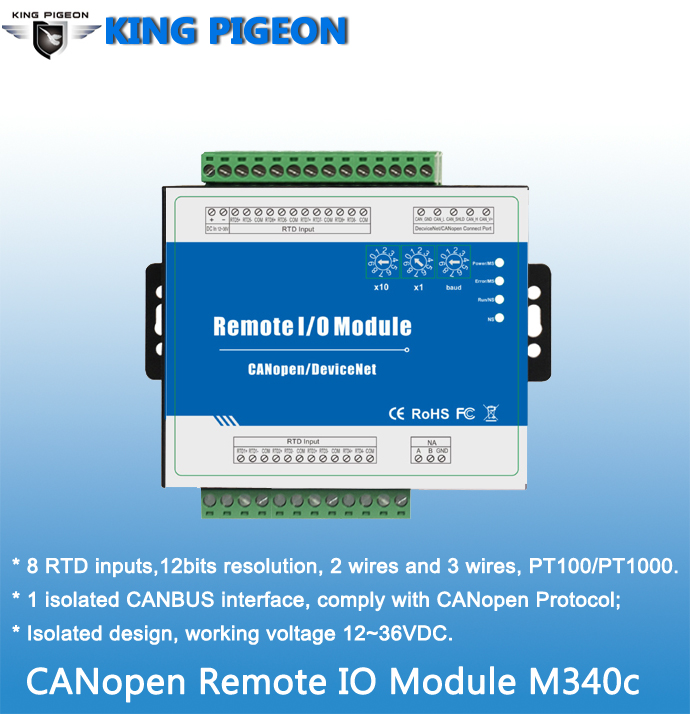 M340c CAN bus Remote I/O module with CANopen protocol Supports PT100 and PT1000