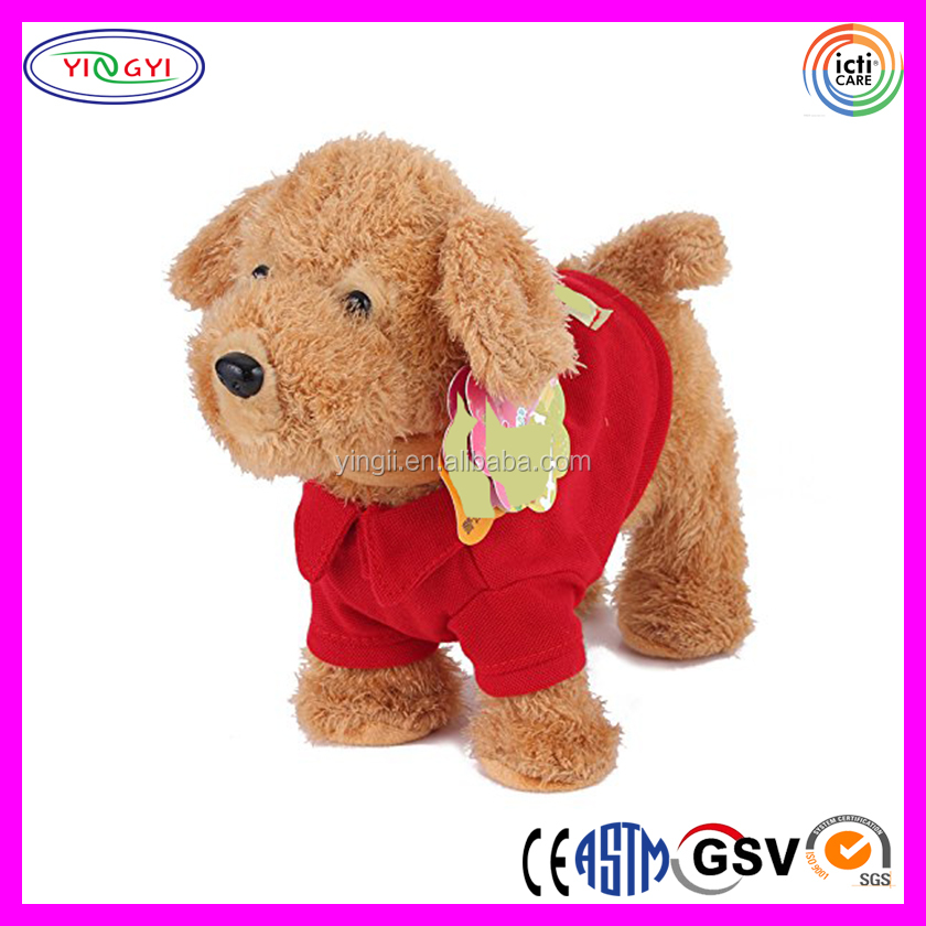 Wear Clothes Plush Electrical Remote Swing Singing Toy Walking Dog