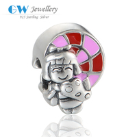 925 Sterling Silver Happy Girl Enamel Charm bead For Bracelet Making