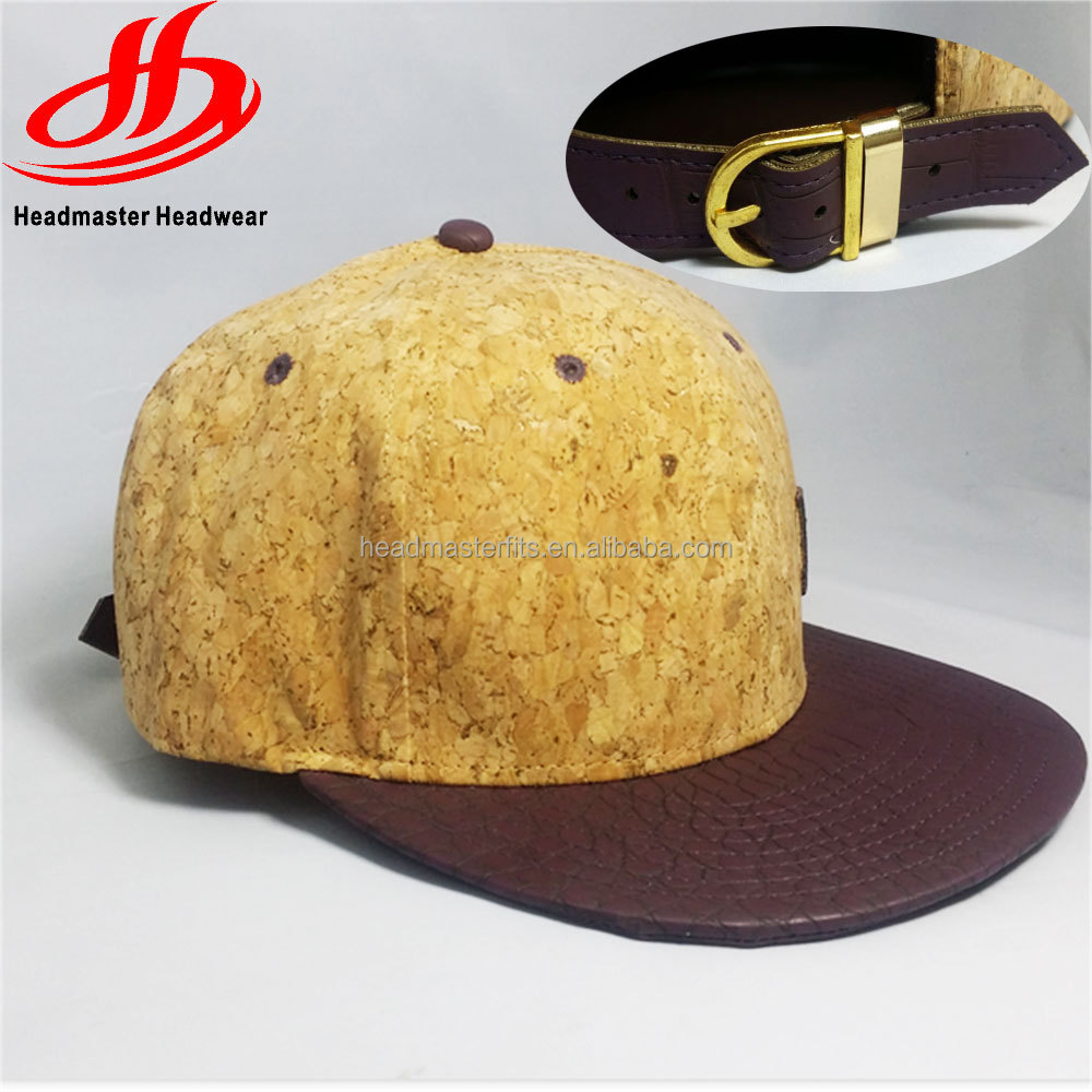 Custom wood Leather Embroidered pattern Hip Hop strapback cap