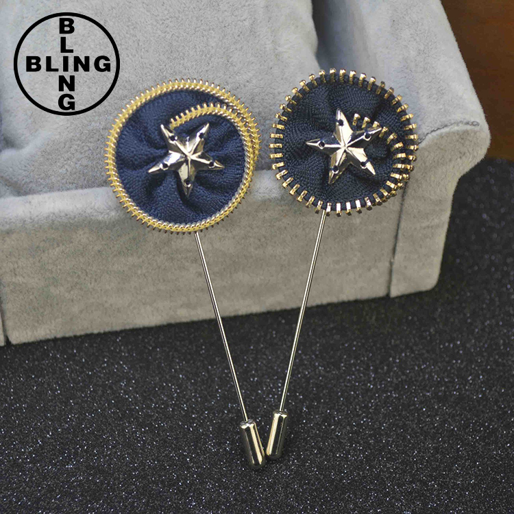 2017 Hot Sale Handmade Custom Cloth Circle Brooch Pin Mens Lapel Pin Brooch