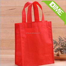 EIME Wholesale Customized Eco Non-Woven Promotion Fabric Bag With Full Red Colour Non Woven Shopping Bag