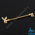 stainless steel andodized gold playboy industrial piercing barbell body jewelry