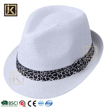 JAKIJAYI free sample summer white headwear decorate men's paper straw fedora hat with ribbon