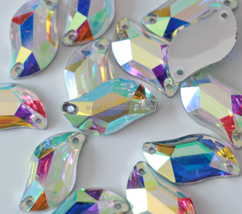 High quality AB crystal glass flat back sew on stone rhinestone