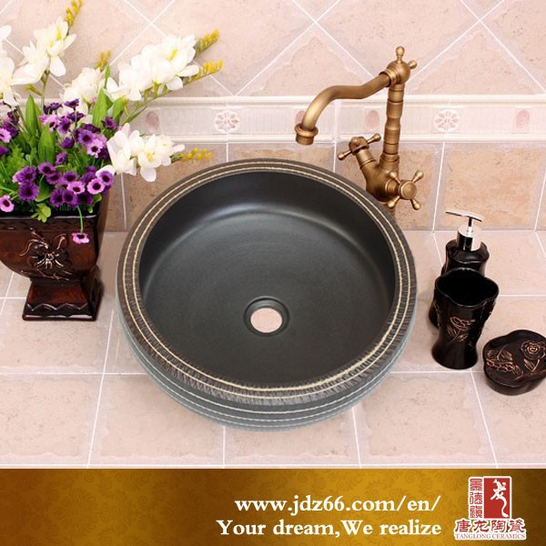 India style high quality black glazed ceramic morocco fossil sink for bathroom decor