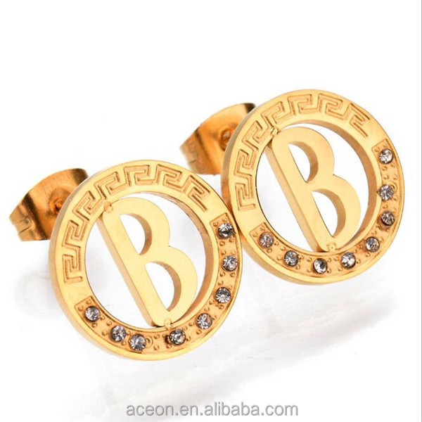 Yiwu Aceon Stainless Steel Gold Cut Out Crystal Letter Earring Stud
