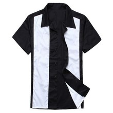 mens 50s 60s rockabilly clothing bowling shirts 5xl plus size rock and roll vintage design hip hop contrast color dropshipping