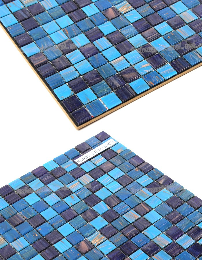 China factory blue mixed Gold Line Hot - melt mosaic wall tile floor tile