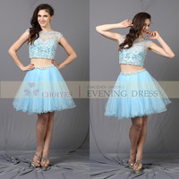 Glamorous sky blue beaded mini short above knee length club party lady cocktail dresses