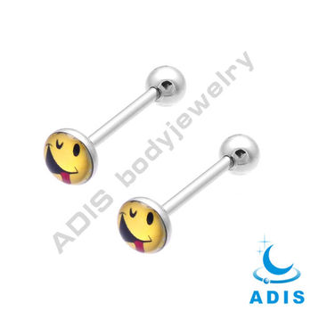 sunny smile tongue barebell jewelry 1.2mm