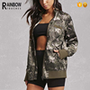 Wholesale Casual Comfortable Satin Silk Fabric Camo Women Jacket