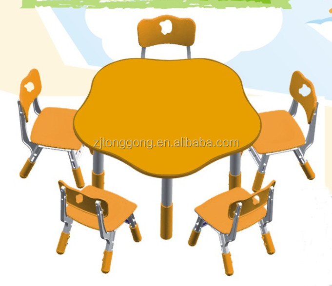 Hot sale Kids School Furniture Flower Shape Table with Metal Leg , Flower Tables and Chiars Sets