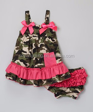 Newest children camouflage cute girls summer clothing hot selling kids Spaghetti straps western girls outfits