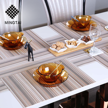 Hot selling cheap wholesale square chinese restaurant custom made vinyl plastic fabric woven dining table plate mat placemat pvc