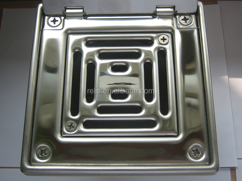 SS304 Stainless Steel Bathroom Floor Drain With Plastic Outlet