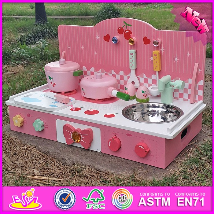 2015 new pretend play cook wooden kitchen toy mini wooden for Mini kitchen set for kids