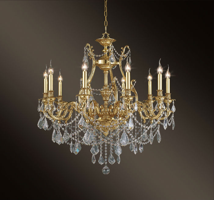 French Art Nouveau Chandelier Crystal Brass Bronze chandelier lamp