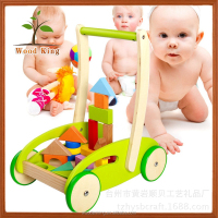 Wholesale Puzzle Blocks Science Education Colour Children Custom Cartoon Mini Kids Small Wooden Push Carts Push Car Toy