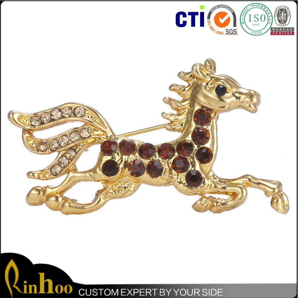 China manfacturer direct sale impetuous antique horse brooches women ornament large horse brooches for sale