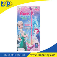 Plastic Pink stand Microphone instrument music show toys for kids can connect with MP3
