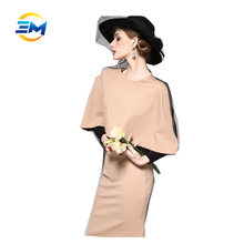 Elegant ladies long sleeve tight waist bodycon cotton knee length round collar cape dress