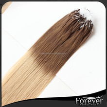 Factory Wholesale Double Drawn ombre color Straight and kinky curly micro bead hair extension