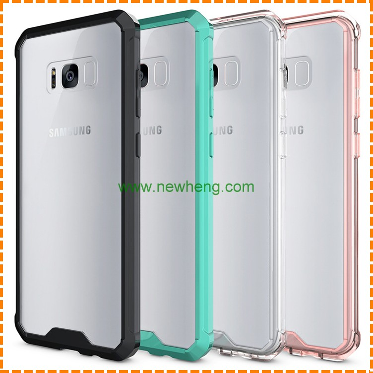 Hot Selling TPU+Acrylic Hybrid Shockproof Transparent back cover case for Samsung Galaxy S8