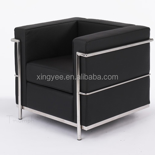 Modern Home Furniture Lc2 Replica European Style Sofa Stainless Steel Genuine Leather Le