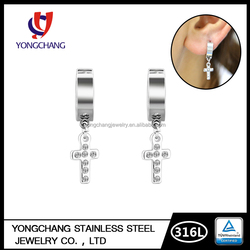 EX-factory price different color gems stone 316l surgical stainless steel cross huggie earring