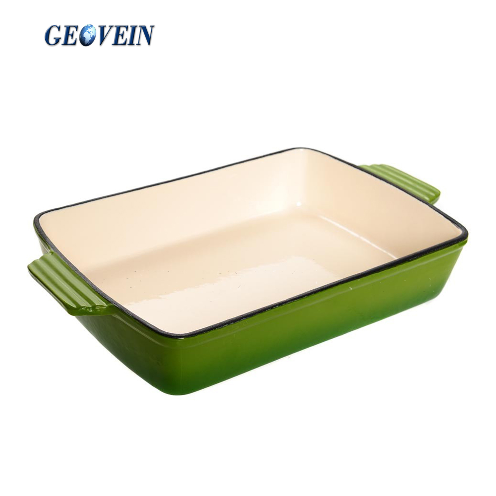 13''x9'' enameled Cast Iron Cookware cooking Pan, Oven To Table Dish, Roasting Tray