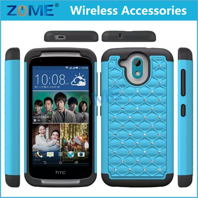 Hybrid Armor Defender Bling Shiny Diamond Bling Hybrid Pc+Silicone Full Body Mobile Phones Cases For Htc Desire 526