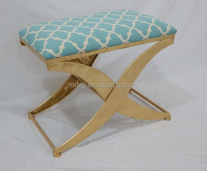 French Living Furniture Fabric Covered Stool