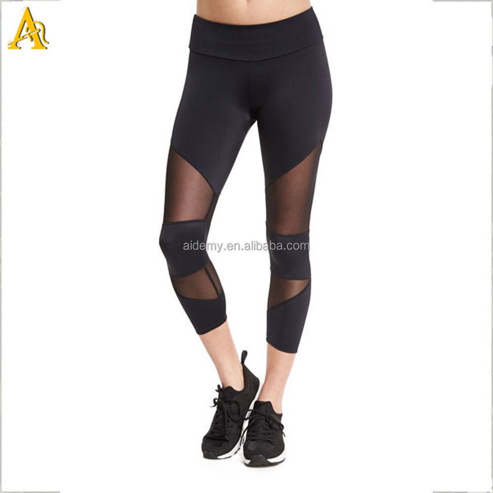 Custom With quality black mesh insert women gym capri/fitness 3/4 tights for sport/yoga