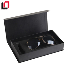 High quality black book shape magnetic closure sunglasses gift box