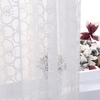 beautiful flower pattern warp knitting lace curtain eyelet curtains with 8 rings