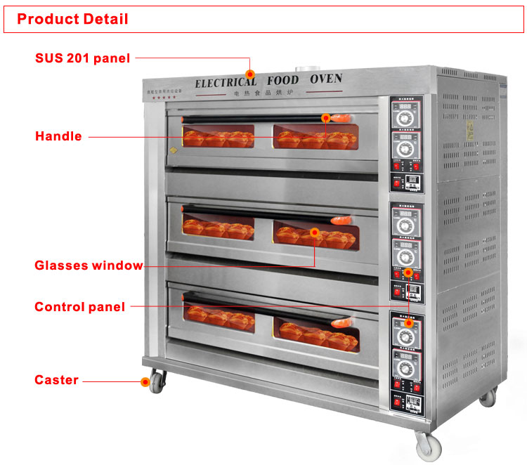 Professional bakery machine of electric bakery oven prices for wholesale 3 decks 9 trays baguette baking oven