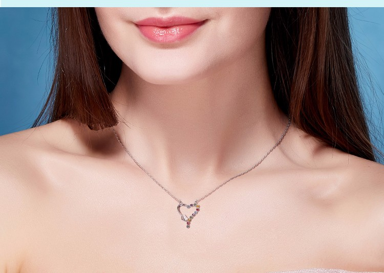925 Sterling Silver Jewelry Women Crystal Fashion Heart Necklace