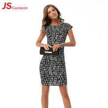 JS 20 Ladies Words Printed Clothes Evening Sexy Dress African Kitenge Designs 706