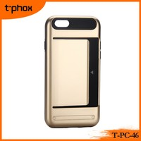 2016 the best TPU & PC mobile phone case protective phone cover phone back shell with elastic clip for placing cards and cash