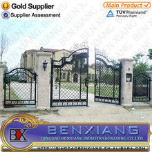 wrought iron main gates design/ wrought iron gate made by Qingdao Benxiang