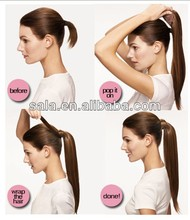 Wrap Around clip in synthetic ponytail Hair Extension straight synthetic hair 60cm 24 inch P001 Good Quality Wholesale