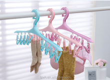 plastic clothes drying hanger with pegs clips