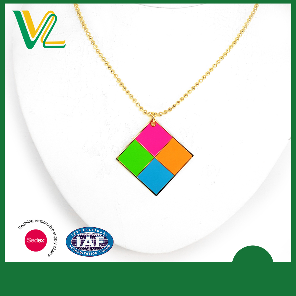 Manufacturer Fashion Zinc Alloy fluorescent paint Square Gift Ball chain Pendant Necklaces for couples