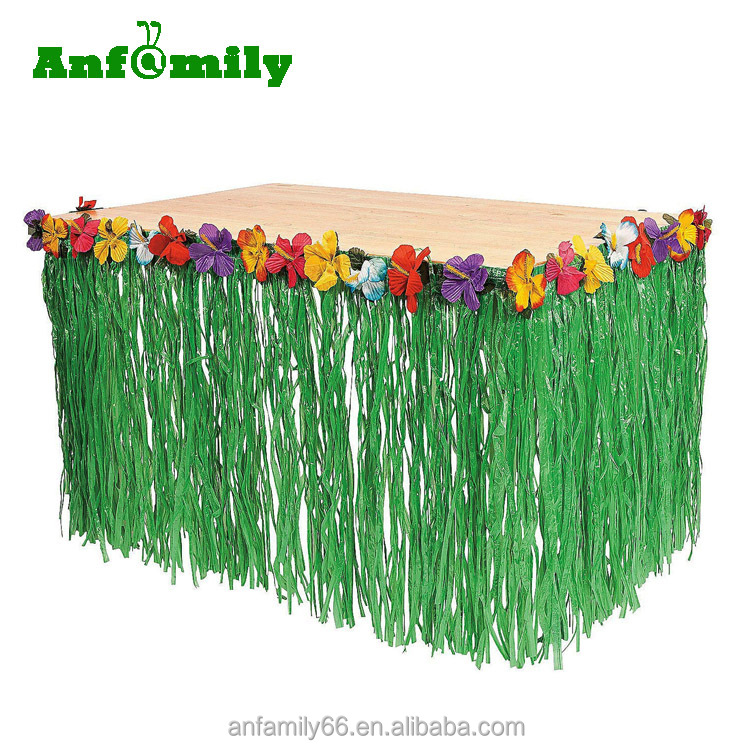 Hawaiian Luau Hibiscus Green Table Skirt Birthday Party Decorations Supplies Luau Tropical Grass Flower Table Skirts
