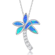 "ATHENAA 925 Sterling Silver Created Blue Opal & CZ Coconut Palm Tree Pendant Necklace with 18"" Chain"